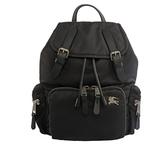 【BURBERRY】The Rucksack尼龍拼皮革中型軍旅背包(黑/銀) 8006720 A1189