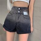 牛仔短褲女 夏季 2021年 新款 寬鬆 高腰 直筒 闊腿褲子 薄款 顯瘦 A字熱褲