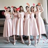 伴娘禮服短款2020新款春夏伴娘服姐妹裙中長款畢業服裝小禮服裙女 韓語空間