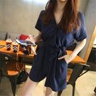 (HL-516)夏日海邊沙灘條紋短袖連身褲連身短褲