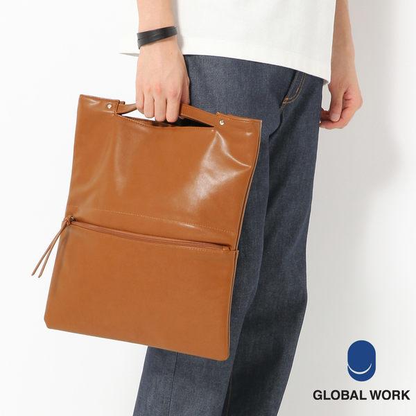 GLOBAL WORK男女2WAY皮革短提把手拿包-四色