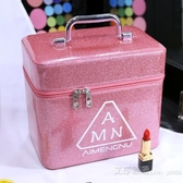 女化妝包大容量小號便攜韓國簡約可愛少女收納盒品大號化妝箱手提 艾莎