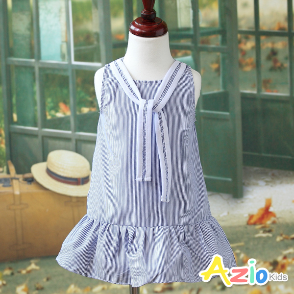 Azio 女童 洋裝 直紋綁帶魚尾無袖洋裝(藍)