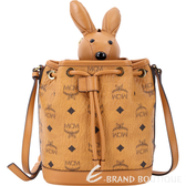 MCM RABBIT 棕色兔子玩偶造型束口水桶包(玩偶可拆當鑰匙圈使用) 1740312-B3