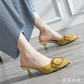 包頭半拖鞋女 2019新款韓版百搭小清新細跟尖頭高跟涼拖鞋女鞋潮 YN2314『美鞋公社』