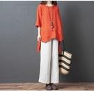 棉麻洋裝連身裙2016上衣新款大碼女裝寬松顯瘦短袖口袋圓領不規則文藝棉麻襯衫裙MA110依佳衣