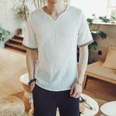 夏季亞麻短袖T恤男士韓版復古V領上衣休閒棉麻半袖體恤       伊芙莎