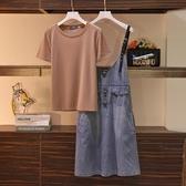 套裝~兩件套~大碼女裝胖妹妹時尚T恤 牛仔吊帶裙兩件套4F098A愛尚布衣