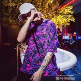 ulzzang情侶紫色短袖T恤男原宿bf風嘻哈情侶裝夏裝ins半袖男女潮 依凡卡時尚