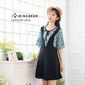 氣質洋裝--假兩件浪漫繫帶圓領碎花拼接荷葉袖A字百搭短袖洋裝(黑M-3L)-D494眼圈熊中大尺碼