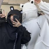 連帽T恤 秋冬女衛衣原宿風青蛙套頭寬鬆帶帽休閒外套情侶刺繡衛衣潮-Milano米蘭