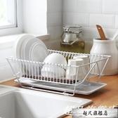 餐具收納盒 鐵藝廚房單層瀝水碗架餐具放碗碟碗筷收納籃-超凡旗艦店