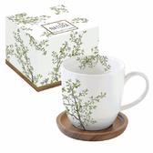義大利精緻白瓷馬克杯咖啡杯附盤陶瓷器餐具木葉禪風系列禮物中秋節禮品-達可家居