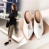 丁果、大尺碼女鞋34-46►2019春閃亮漆皮造型珍珠穆勒鞋頭高跟鞋子*5色