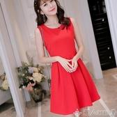 無袖洋裝2019春夏新款韓版顯瘦素色女裝修身大碼無袖時尚百搭連身裙 聖誕節