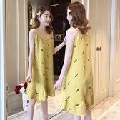夏季少女純棉吊帶睡裙女卡通全棉夏天女士無袖睡衣可愛孕婦家居服「艾瑞斯居家生活」
