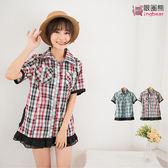 質感撞色--時尚休閒款代表-格紋撞色皮帶式立體口袋短袖襯衫(紅.綠M-2L)-H96眼圈熊中大尺碼