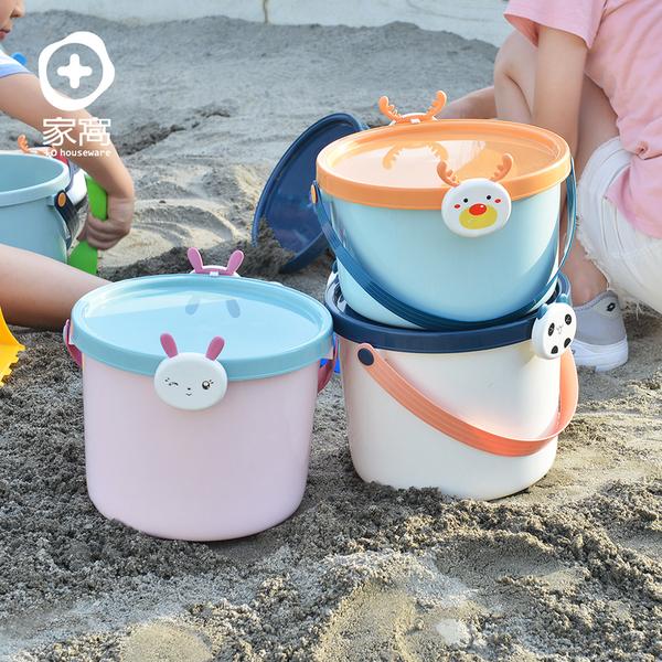 【+O家窩】動物造型卡扣戲水/玩具收納桶附蓋-大-3入-3款動物可選(水桶 海灘 海邊 沙灘 沙坑 戲水)