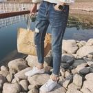 FINDSENSE 時尚 潮 男 簡約 個性破洞 九分褲 牛仔褲 休閒褲 小腳褲