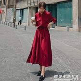 紅色裙子春秋年新款女裝法式長款收腰襯衫洋裝氣質復古長裙