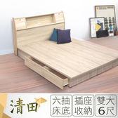 IHouse-清田 日式插座收納床組(床頭+收納床底)-雙大6尺