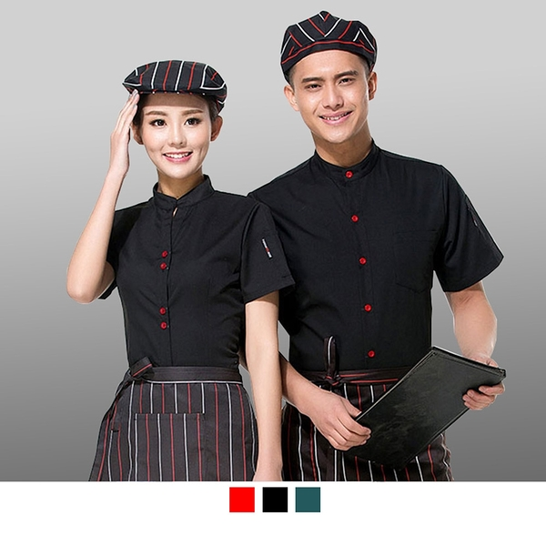 晶輝專業團體制服*CH004*時尚酒店餐飲服務員夏裝新款蛋糕面包店烘焙西餐廳男女工作服短袖