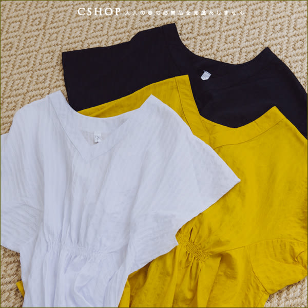 棉麻衫  簡約大方直織紋抓皺V領棉麻衫  三色-小C館日系