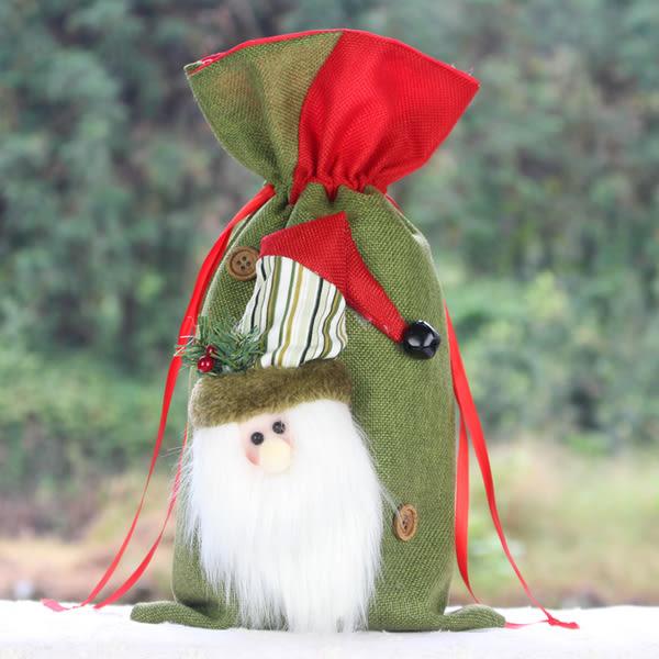 聖誕裝飾品禮品袋紅酒袋餐廳裝飾 聖誕老人立體造型