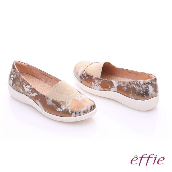 effie 挺麗氣墊 金箔羊皮寬版鬆緊帶奈米休閒鞋  古銅