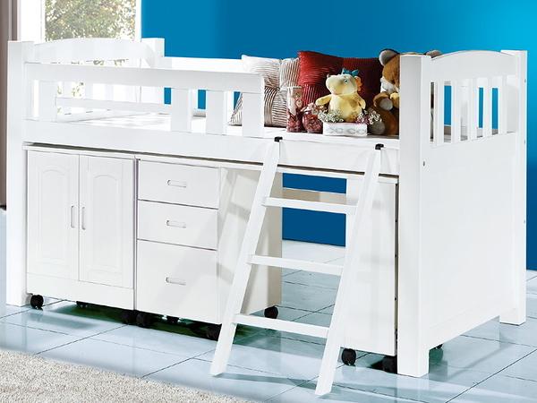 床架 高架床 CV-185-1 格林924型烤白多功能單層床(不含床墊) 【大眾家居舘】