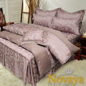 【Novaya‧諾曼亞】《克緹儂》精品緹花貢緞精梳棉加大雙人床包兩用被四件組
