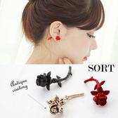 耳環 韓國時尚個性立體 玫瑰花朵前後 耳針耳環【QQN011】