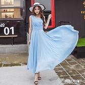 無袖連衣裙 【高檔面料】2021夏季新款時尚中長款裙子無袖雪紡連衣裙連衣裙夏 快速出貨