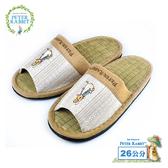 【クロワッサン科羅沙】Peter Rabbit 菱格直條素邊草蓆室內拖鞋 (棕26CM)