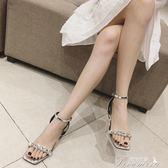 夏季新款仙女的鞋復古水鑽百搭一字扣帶中高跟皮面方頭女涼鞋 提拉米蘇
