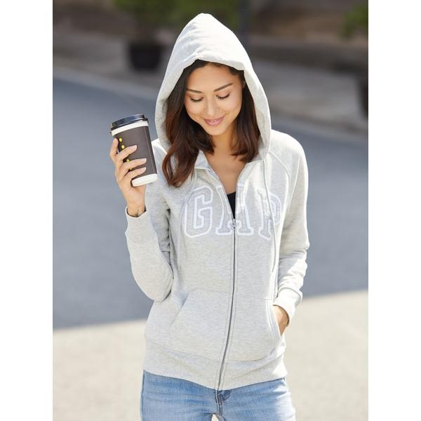 Gap女裝 Logo系列可選色活力連帽長袖休閒外套 多色可選 639910-淺麻灰色