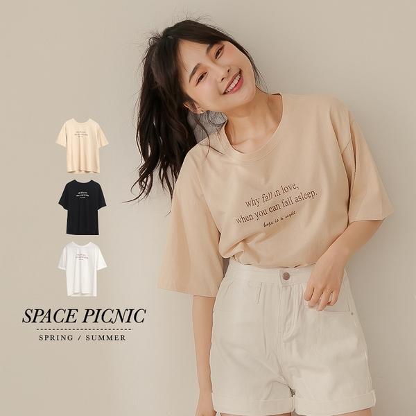 上衣 Space Picnic|fall in love印字短袖上衣(現貨)【C21011040】
