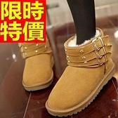 雪靴-時尚真皮鉚釘皮帶扣短筒女靴子4色64r40【巴黎精品】