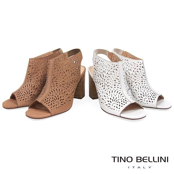 Tino Bellini 巴西進口綻放花火鏤空皮雕高跟魚口涼鞋 _ 白 B83225 歐洲進口款