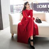 降價兩天-長袖洋裝氣質大紅色長袖收腰針織連身裙長版過膝大擺裙打底秋冬女wy