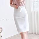 窄裙春夏款白色半身裙女韓版修身高腰包臀裙ol風格職業包裙中裙23日 快速出貨