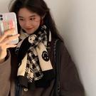 新款格子圍巾女可愛少女韓版百搭學生針織毛線披肩笑臉圍脖潮 快速出貨
