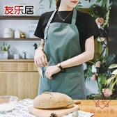 廚房做飯圍裙罩衣畫畫衣時尚日式防水廚師工作服男女【櫻田川島】