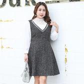 ★韓美姬★中大尺碼~內搭蕾絲衫背心裙兩件式套裝(XL~4XL)