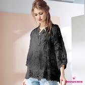 【SHOWCASE】氣質V領開襟二件式微透七分袖繡花蕾絲上衣(黑)