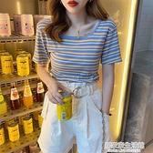 短款t恤女夏裝2021年新款網紅ins潮修身條紋法式鎖骨方領短袖上衣 居家家生活館