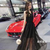 優惠兩天-無袖洋裝蕾絲連身裙長版女夏季2018新品韓版黑色無袖過膝修身收腰長裙S-2XLxw