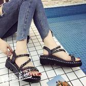 厚底涼鞋 正韓涼鞋女夏中跟水鑽亮片百搭厚底露趾平跟羅馬女鞋 酷我衣櫥