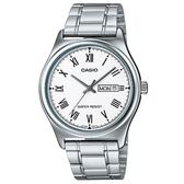【CASIO】 經典英倫復古不鏽鋼紳士指針錶-羅馬白面(MTP-V006D-7B)