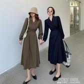 復古法式長袖連身裙女秋裝2020年新款西裝裙春秋顯瘦氣質炸街裙子 poly girl